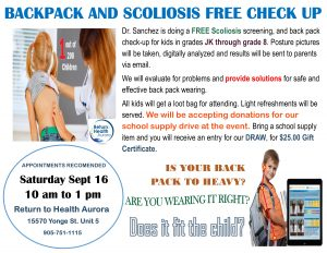 Drop in September 16 for our free Back pack and Scoliosis Check up!  10 – 1 pm